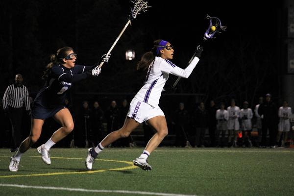 Northwestern midfielder Taylor Thornton was a critical part of the midfield, scooping up 5 ground balls. The senior also won 2 draw controls and took a shot in the Wildcats' 10-8 win.