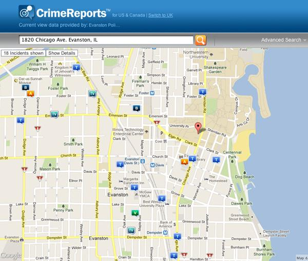 The Evanston Police Department recently collaborated with crimereports.com to release a map of crimes in the city.