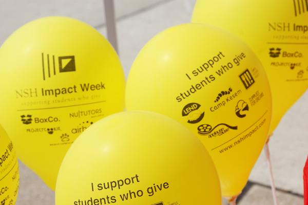 Northwestern Student Holdings handed out balloons during the NSH Impact Week. The event worked to raise awareness about philanthropic projects on campus.