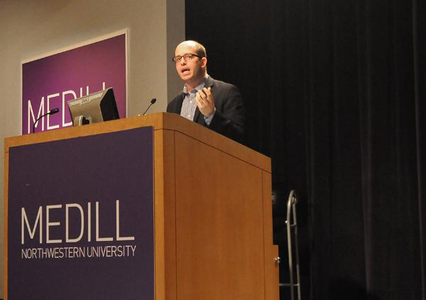 New York Times media reporter Brian Stelter spoke Saturday at Medill's new digital storytelling conference, Media Rewired.