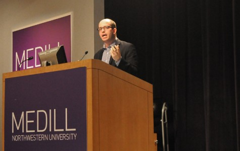 Brian Stelter, a media reporter for The New York Times, spoke during the first day of Media Rewired, a new conference on online journalism organized by the Medill Undergraduate Student Advisory Council.