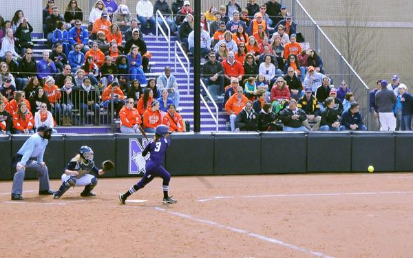 Northwestern outfielder Kristin Scharkey scored a run in both of the Wildcats' games Wednesday. The senior had a .500 on-base percentage in the doubleheader.