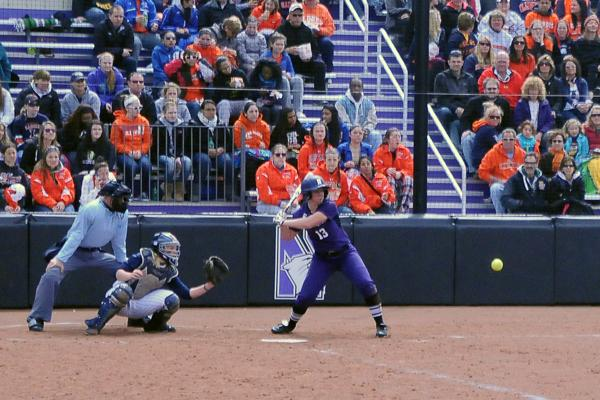 Sophomore outfielder Olivia Duehr slugged a home run that hit the roof of the practice facility in let field, on the eighth run to do so in program history, to put NU on the board against Notre Dame on Tuesday afternoon. The Cats defeated the Fighting Irish in five innings on a run-rule.