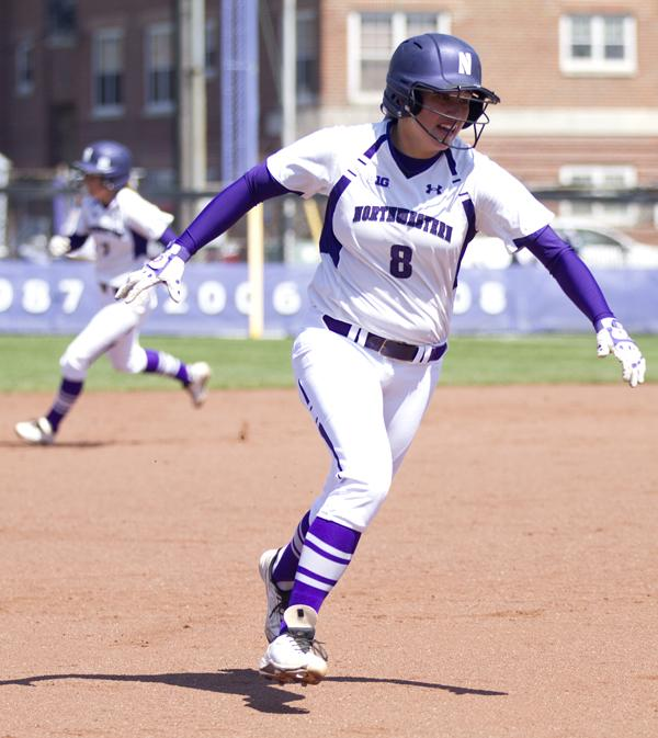 Sophomore pitcher Amy Letourneau rounds the bases. The sophomore ace has more strikeouts than any other pitcher in the Big Ten but is comfortable in the batting lineup as well – she is also tied for seventh most home runs in the conference.