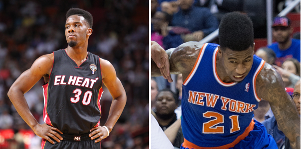 The hi-top fade has made a comeback in the NBA, thanks to players like Miami's Norris Cole (left) and New York's Iman Shumpert.