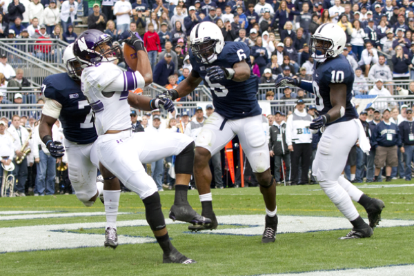 Tony Jones catches a pass for a touchdown against Penn State. Jones will anchor a deep corps of receivers for Northwestern in 2013.