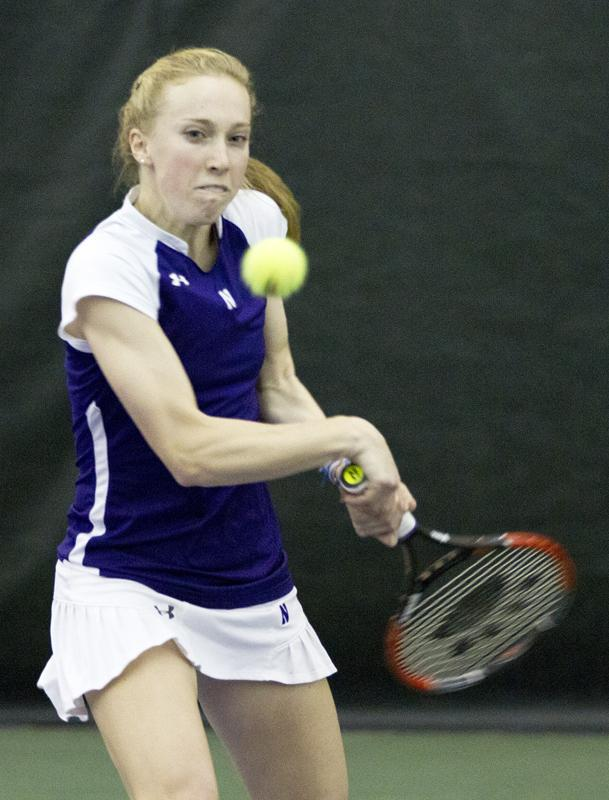Northwestern+tennis+player+Kate+Turvy+ended+her+final+regular-season+match+at+NU+with+a+convincing+6-1%2C+6-0+win.+The+senior+is+currently+ranked+49th+in+the+nation+in+singles+play.