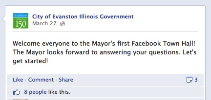 Evanston Mayor Elizabeth Tisdahl held her first Facebook town-hall Wednesday, answering questions submitted before and during the electronic exchange.