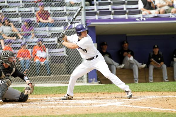 Junior second baseman Kyle Ruchim prepares for a pitch. Ruchim went 1-for-5 in NU's 11-inning 5-3 victory over UIC on Tuesday.