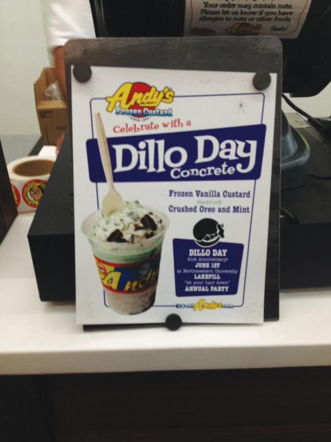 Andys Frozen Custard is one of the Evanston restaurants using new menu items to help advertise Dillo Day. Their Dillo custard includes mint and Oreo toppings.
