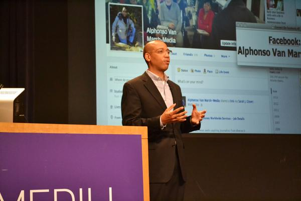 CNN reporter Alphonso Van Marsh (Medill '94) speaks Thursday afternoon at McCormick Tribune Center. Van Marsh has reported extensively from the Middle East and Africa throughout his career.
