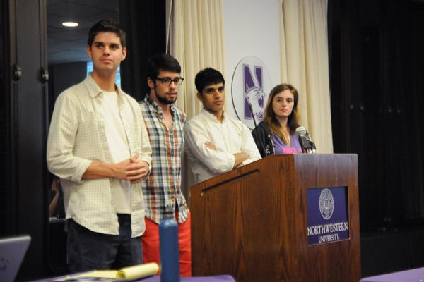 Mayfest leaders Wil Heintz, Patrick Leonard, Neil Mehta and Victoria Zuzelo make their case before Associated Student Government senators Tuesday night for additional funding to establish a