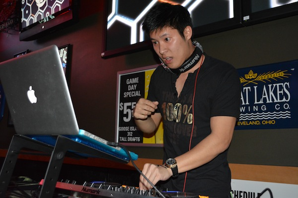 DJ Kaitos performs Thursday night at Buffalo Wild Wings during Mayfest's Battle of the DJs competition. Six student DJs competed in the event.