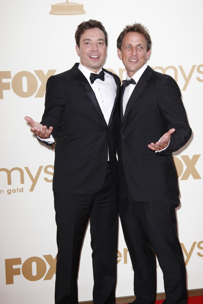 Seth+Meyers+%28right%29+and+Jimmy+Fallon+pose+at+the+2011+Emmys.+Meyers+%28Communication+%2796%29+will+replace+Fallon+as+the+host+of+NBC%27s+%22Late+Night%22+next+year.