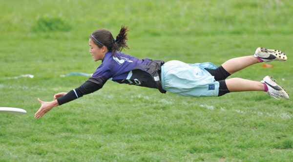 McCormick graduate student Lien Hoffmann reaches for the disc. She is a member of the Northwestern women's club ultimate Frisbee team, which recently competed in Nationals.