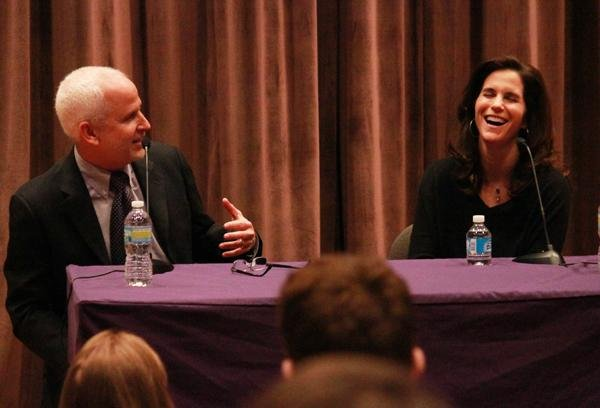 "University President Morton Schapiro jokes with actress Jamie Gertz on Thursday afternoon at Annie May Swift Hall. Gertz held a screening of her film, ""Keeping Up with the Steins,"" and chatted with Schapiro about the role of Judaism in entertainment."
