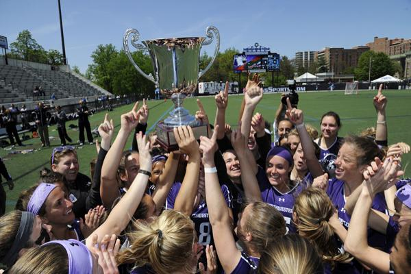 No. 2 seed Northwestern celebrates after beating No. 1 seed Florida in the ALC Championship game Sunday in Baltimore. This is NU's sixth time winning the ALC tournament in it's seven years of existence.