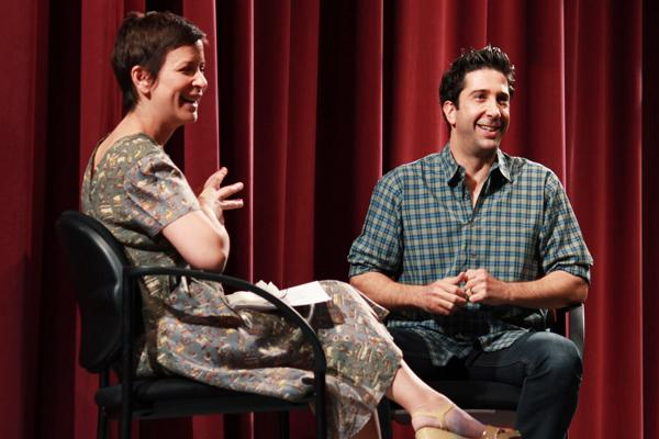 Actor David Schwimmer (Communication '88) and Communication Prof. Anna Shapiro interact with the crowd Monday afternoon in the Josephine Louis Theater. Schwimmer came to campus to share stories about his work and experiences with primarily theatre and Radio-TV-Film students.