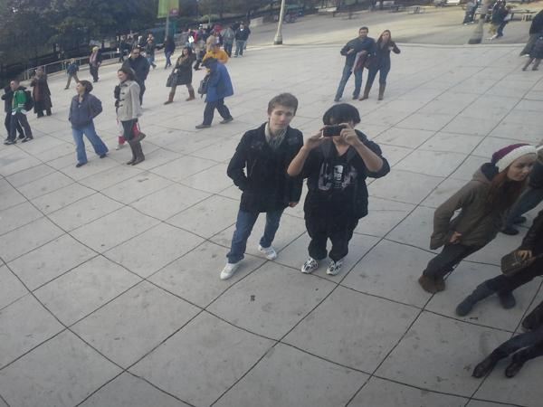 McCormick sophomore Dmitri Teplov and friend Takuya Mori pose for a self-portrait last year at the bean-shaped Cloud Gate in Chicago's Millennium Park. Mori is one of several friends Teplov knew from the Internet who were stunned by his death earlier this month.
