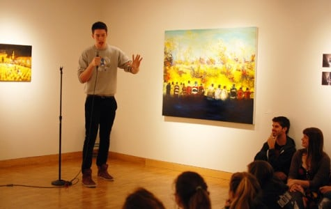 Weinberg freshman Clayton Reynolds recalls his experiences in rural Nebraska during a Mayfest event Sunday evening. Four other students also shared stories at The THREAD, one of several events Mayfest has organized in the lead-up to Dillo Day.