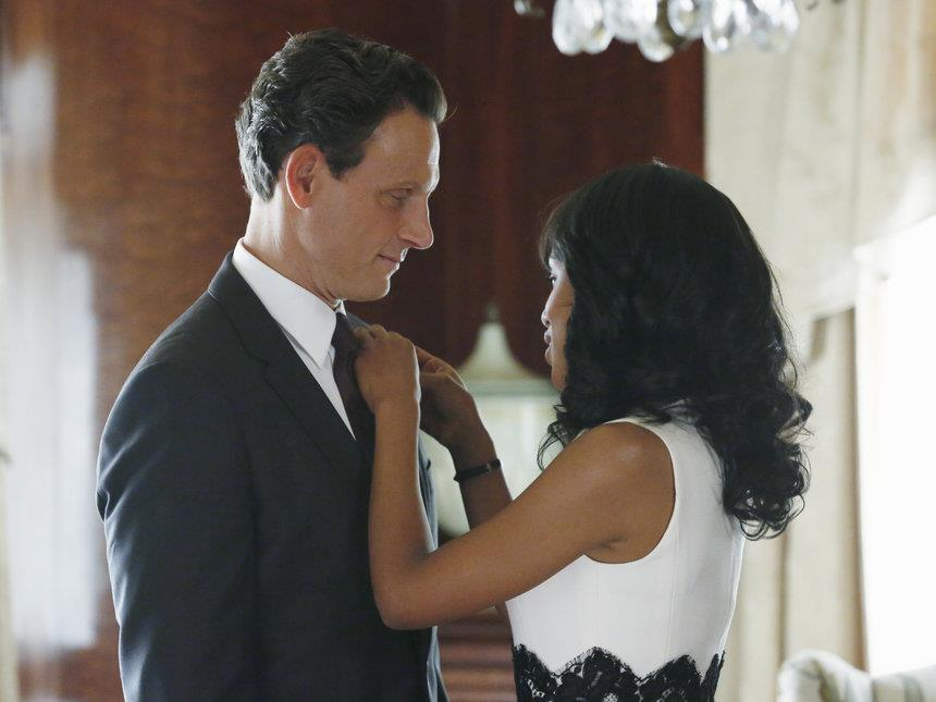 The+stellar+chemistry+between+Tony+Goldwyn+%28left%29+and+Kerry+Washington+%28right%29+as+President+Fitzgerald+Grant+and+political+%22fixer%22+Olivia+Pope+shines+through+in+ABC%27s+%22Scandal.%22+The+show+wrapped+up+its+second+season+last+week.