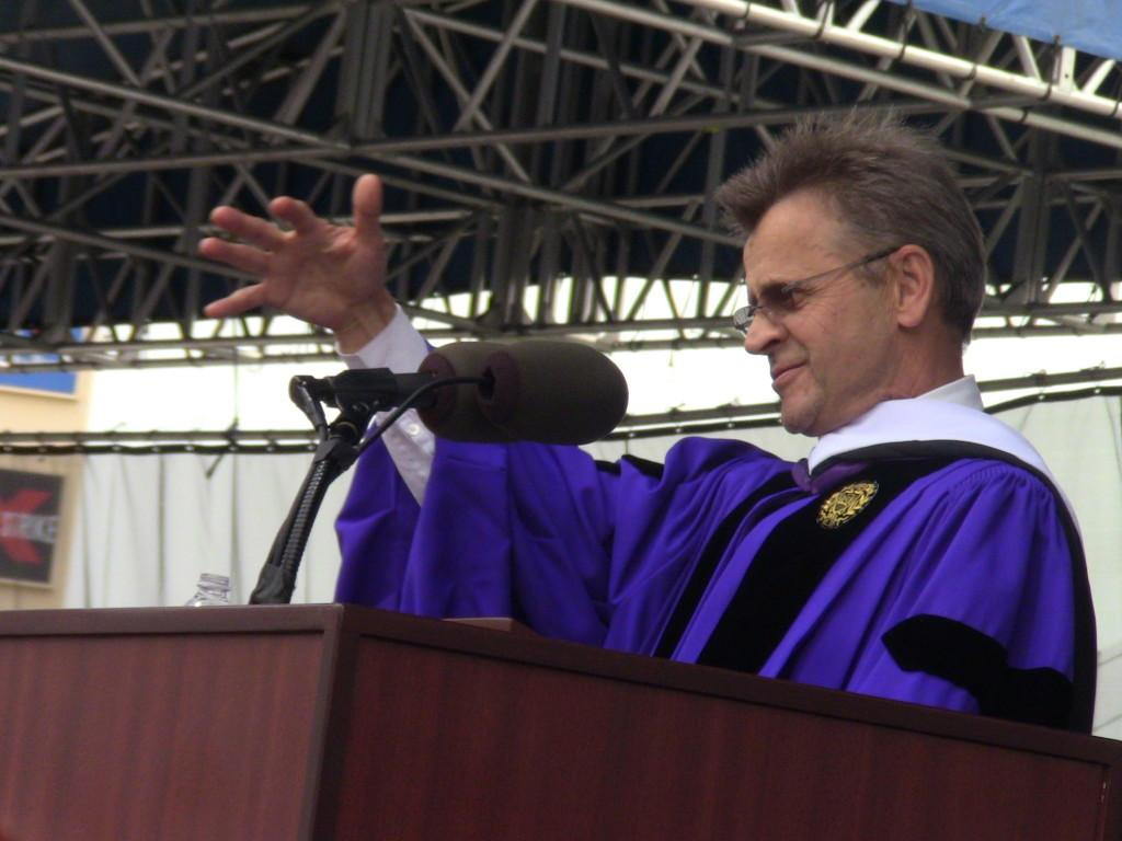 Ballet maestro Mikhail Baryshnikov looks out at Northwestern's commencement audience Friday morning. Baryshnikov delivered the commencement address, something he said he decided to do at the urging of his daughter Anna, a Communication junior.