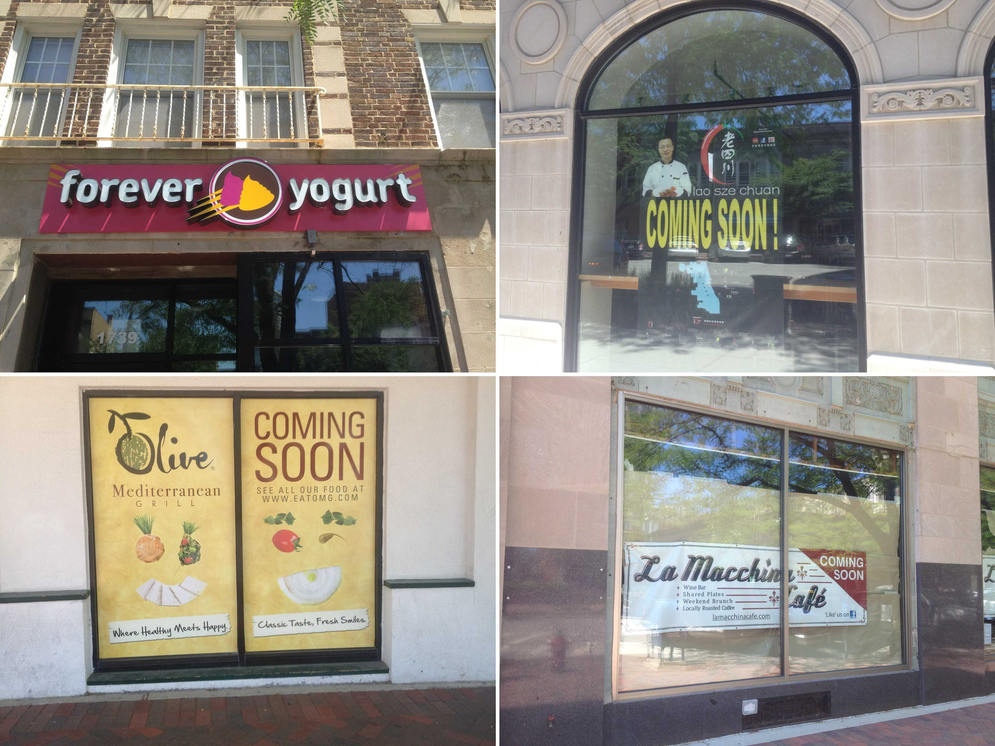Forever Yogurt, Lao Sze Chuan, Olive Mediterranean Grill and La Macchina Cafe are all opening this summer in downtown Evanston. The popular Chicago eatery Farmhouse opened its first location in Evanston last week.