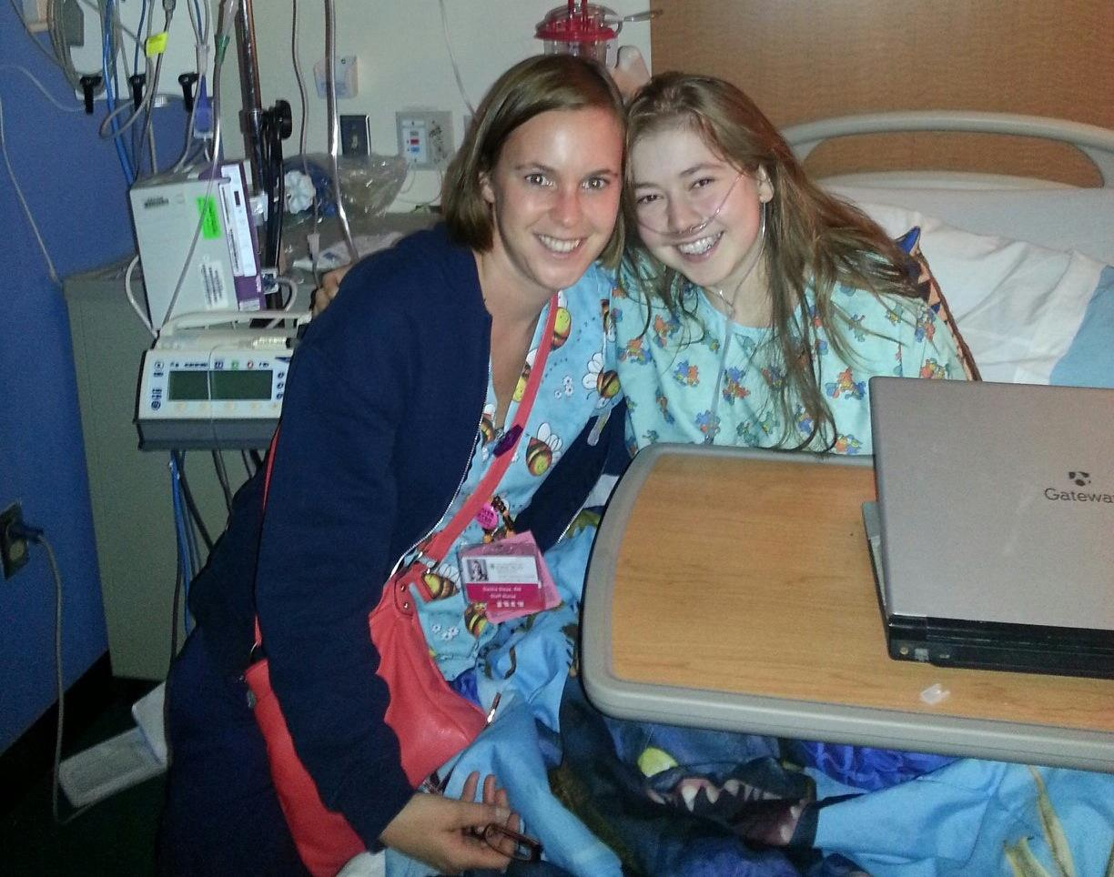 Rising Communication junior Josie Nordman waits to go into surgery Saturday night with nurse Dasha Sleza at the University of Chicago Medical Center. Nordman, who has cystic fibrosis, is now recovering following a double lung transplant.