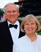 Northwestern trustee J. Landis Martin (left) and his wife, Sharon, recently made a $10 million donation to the NU School of Law.