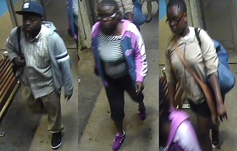CTA surveillance video shows a man and two girls leaving the Foster Street station Thursday night. Police say the man robbed a Northwestern student outside the station.