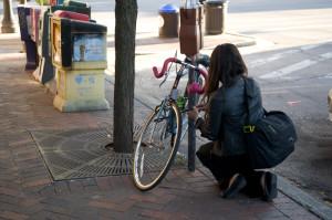 City uses bands to enforce bike parking