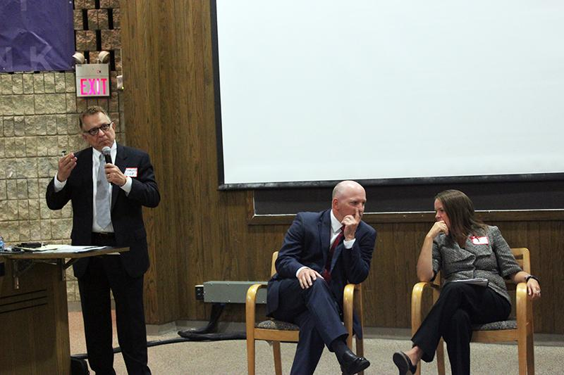 Author and lawyer Tom Diaz speaks about gun safety Thursday night in the Owen L. Coon Forum. Diaz appeared in a panel discussion with state Sen. Kwame Raoul (D-Chicago) moderated by state Sen. Dan Kotoski (D-Park Ridge).
