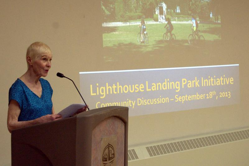 No Park Sale co-founder Barbara Janes speaks at the group's first meeting Wednesday night. No Park Sale formed in opposition to Evanston billionaire Jennifer Pritzker's proposal to buy the city-owned Harley Clarke Mansion, 2603 Sheridan Road.
