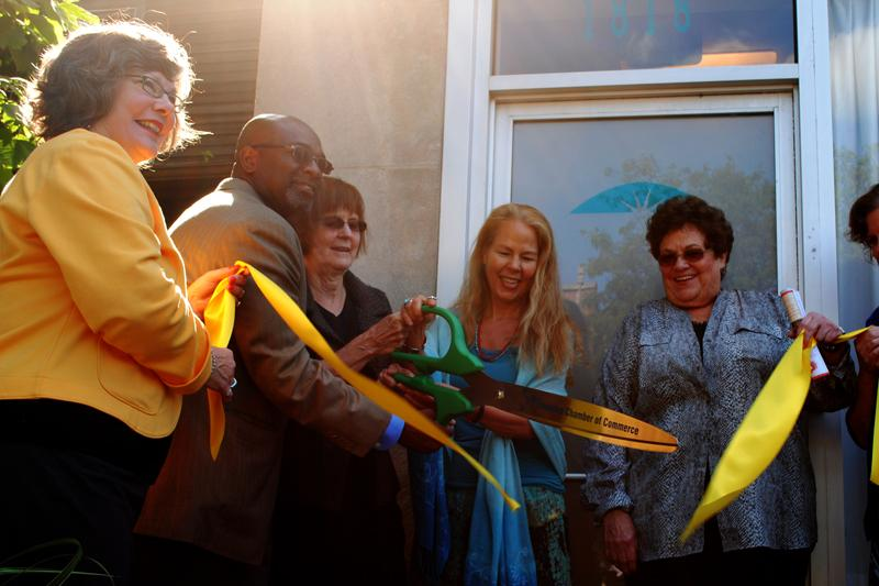Heartwood+Center+owner+Nancy+Floy+leads+a+ribbon-cutting+ceremony+Monday+morning.+The+center%2C+1818+Dempster+St.%2C+opened+a+new+addition+called+Skylight.+