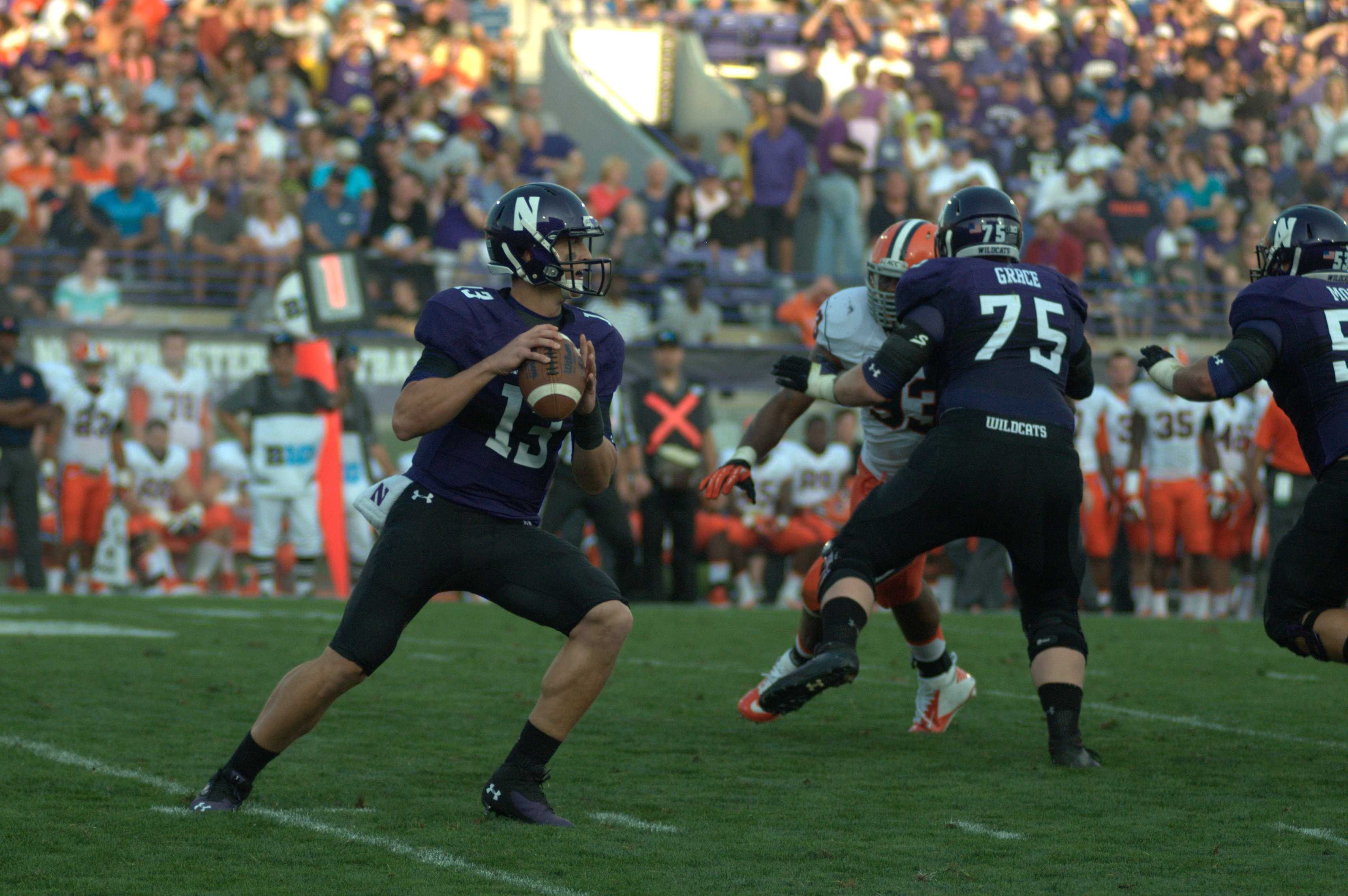Junior quarterback Trevor Siemian drops back to pass. Siemian combined with senior Kain Colter to throw for 375 yards Saturday.