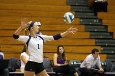 Senior Stephanie Holthus serves the ball during the Wildcat Classic in Evanston last weekend. Northwestern dominated the tournament, besting all three teams on the shoulders of the outside hitter. She set a new school record, pounding 24 kills in a three-set match against Miami (Ohio).
