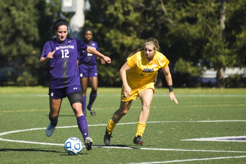 Margo McGinty handles the ball during Northwestern's Sunday defeat at the hands of Iowa. The sophomore defender has played nearly every minute of the 2-7-2 Wildcats' season.