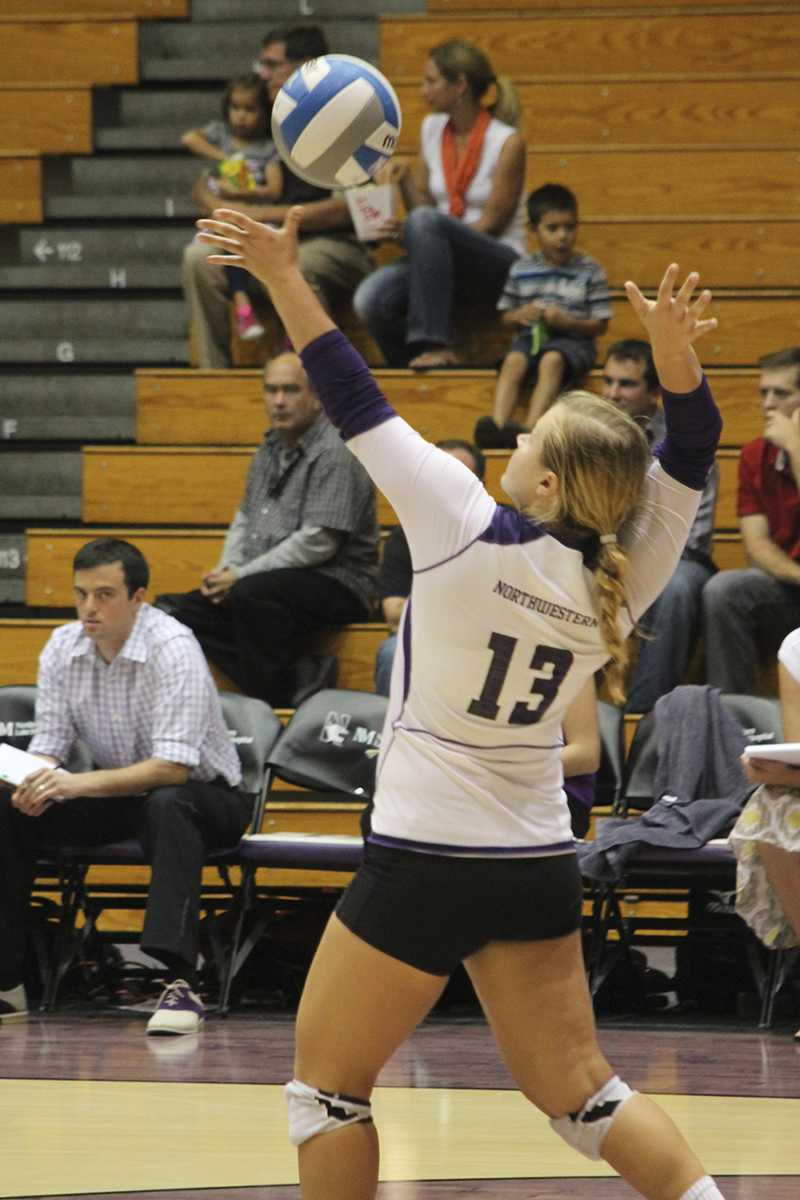Defensive specialist Abbie Kraus played in both Wildcat matches over the weekend. The Northwestern defense showed its strength against Nebraska and Iowa as junior Savannah Paffen set a career-high eight blocks facing the Cornhuskers and nearly repeated the feat Saturday, stopping the Hawkeyes cold seven times.