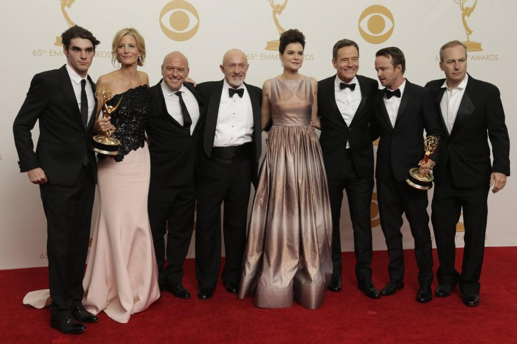 """The case of """"Breaking Bad"""" celebrates their Emmy wins. The award-winning show ended its run Sunday."""