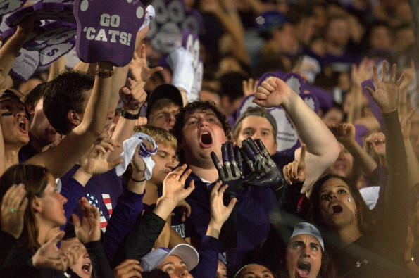 Northwestern fans cheer at the Homecoming game. International students, however, don't always understand why football is so popular.