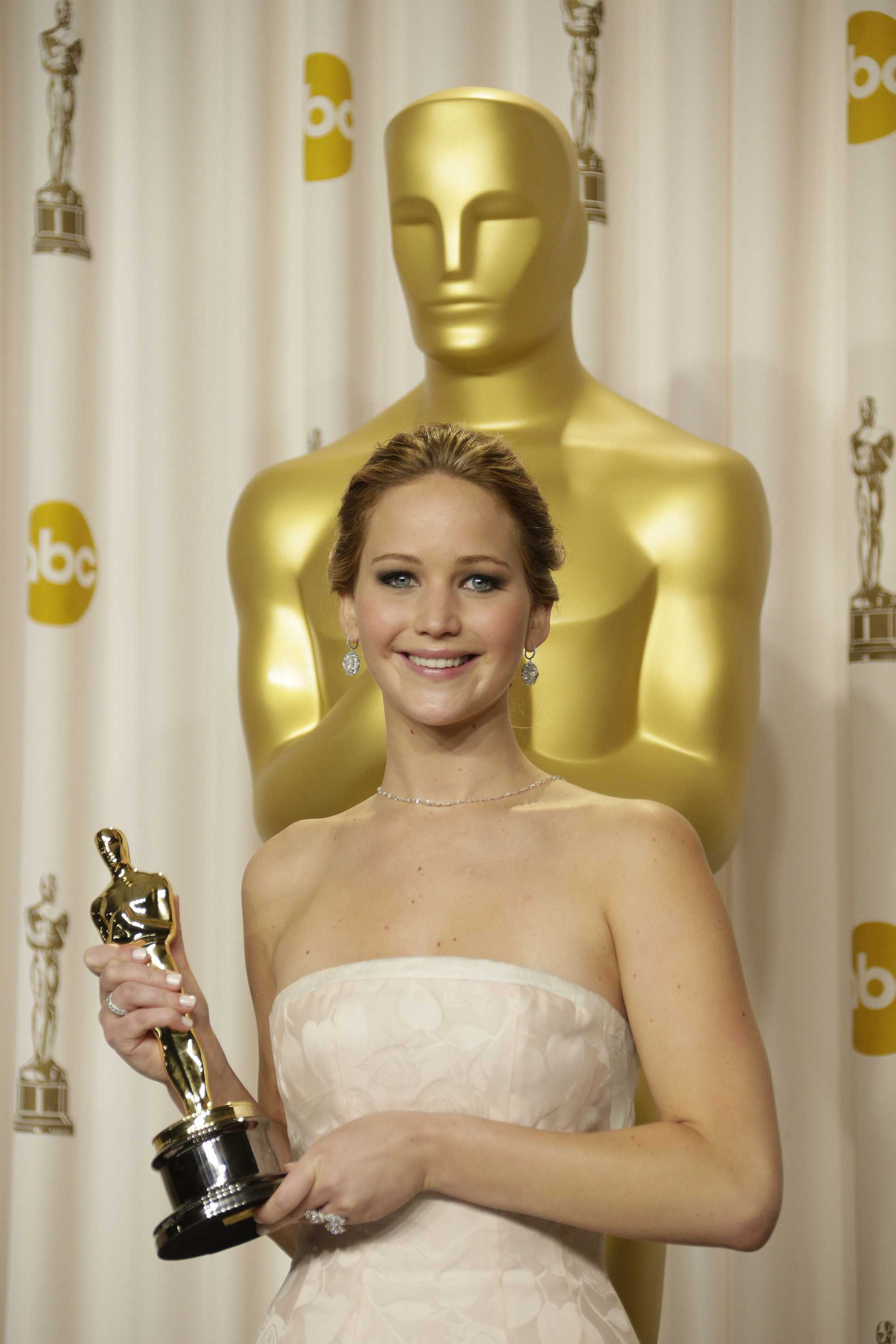 Jennifer Lawrence poses backstage at the 85th annual Academy Awards. The actress said she refuses to go on a diet for any film roles.