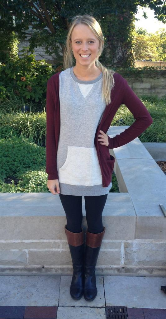 Medill freshman Ashley Peterson show show to layer in her grey sweater topped with a burgundy cardigan.