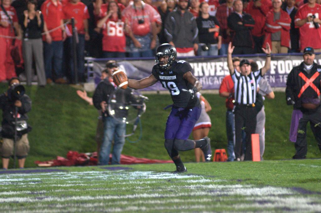 Sophomore wide receiver Cameron Dickerson reaches the end zone. The catch was his first and last of the night, putting Northwestern on the board for the last time against Ohio State on Saturday.