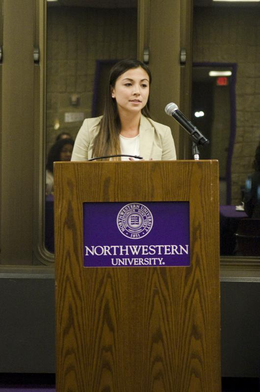 Carolyn+Huang%2C+president+of+the+Northwestern+Public+Health+Club%2C+explains+the+resolution+she+authored+on+making+NU+a+tobacco-free+campus+to+Associated+Student+Government+senators.+A+Senate+vote+on+the+bill+is+scheduled+for+next+week.+
