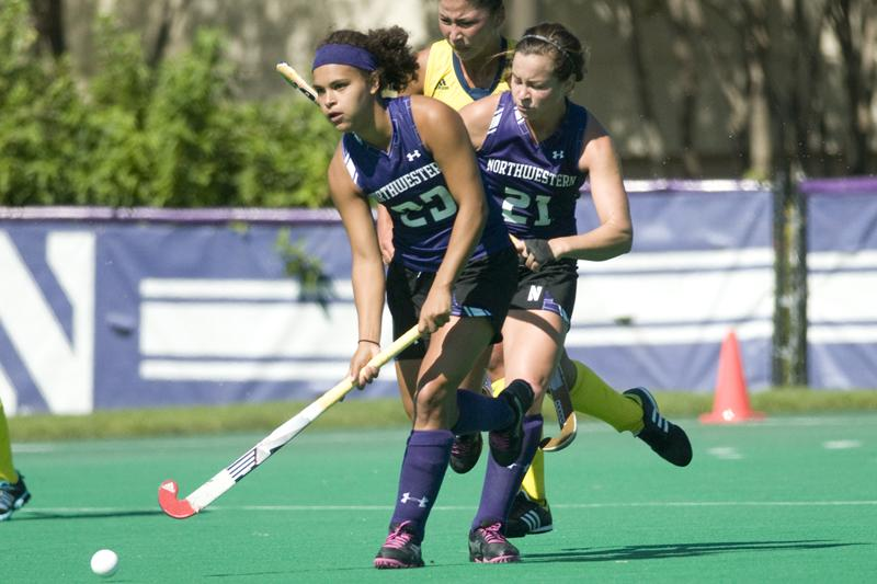 Freshman midfielder Isabel Flens stares down the field as senior midfielder Tara Puffenberger follows closely behind. The duo combine for 10 of Northwestern's goals this season. Flens was honored with both the Big Ten Freshman of the Week and Big Ten Offensive Player of the Week awards.