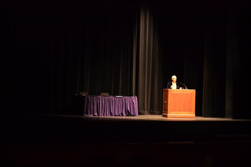 Poet Nikki Giovanni speaks Thursday night at Cahn Auditorium. Giovanni, the speaker at For Members Only's annual State of the Black Union event, discussed the importance of remembering history.