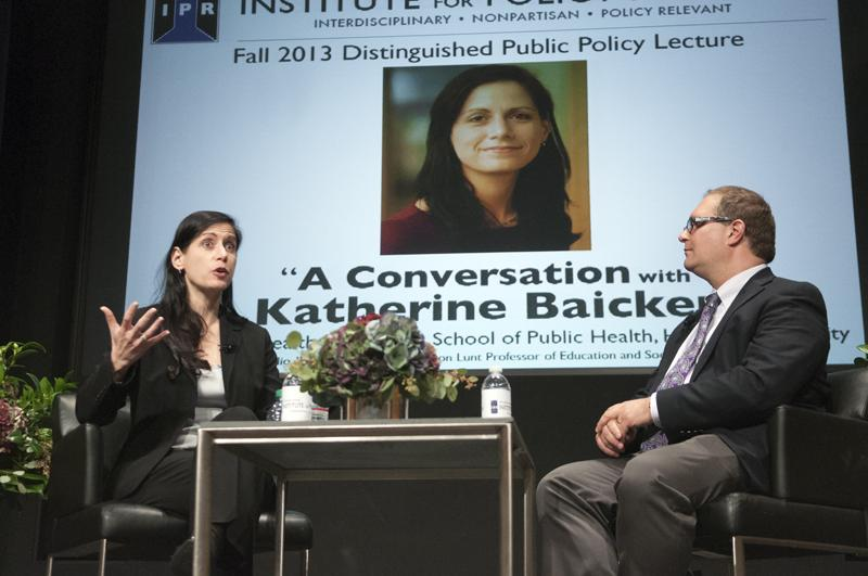 Katherine+Baicker%2C+professor+of+health+economics+at+Harvard+School+of+Public+Health%2C+discusses+her+research+with+David+Figlio+of+the+Institute+for+Police+Research+in+the+McCormick+Tribune+Center+on+Monday+afternoon.+Baicker%27s+research%2C+as+part+of+the+Oregon+Health+Insurance+Experiment%2C+looks+into+the+effects+of+expanding+Medicaid+coverage.