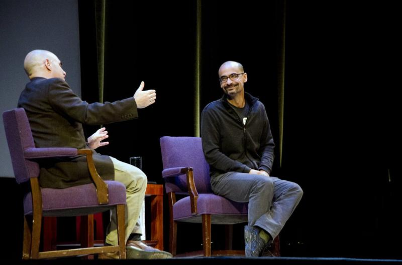Pulitzer+Prize-winning+author+Junot+Diaz+talks+about+his+experiences+writing+with+NPR%E2%80%99s+Peter+Sagal+as+part+of+the+24th+annual+Chicago+Humanities+Festival.+Diaz+talked+about+the+importance+of+minority+narratives+in+America.+