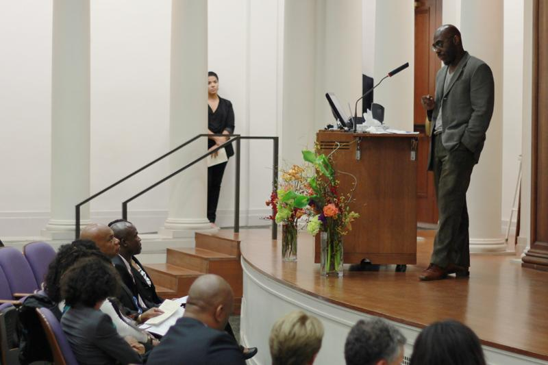 African+American+studies+Prof.+Barnor+Hesse+speaks+at+a+memorial+Tuesday+for+Richard+Iton.+Iton+died+in+April+after+a+decade-long+bout+with+leukemia.%0A