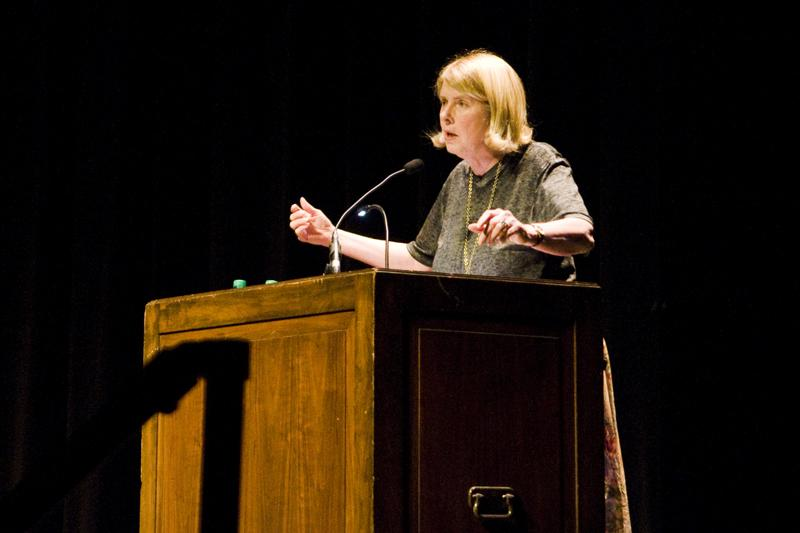 Johns Hopkins University Prof. Kay Redfield Jamison speaks Monday at Cahn Auditorium. Jamison talked to a crowd made up of primarily Panhellenic Association women about her experience with bipolar disorder.